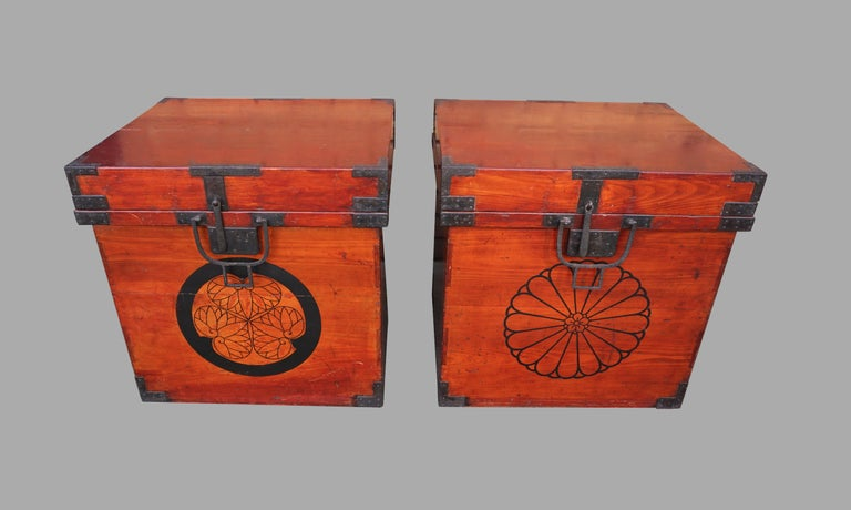 Edo Rare Pair of Japanese Armor Carrying Cases with Imperial and Tokugawa Crests For Sale
