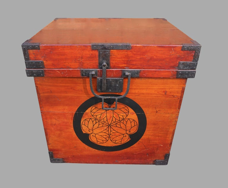 Rare Pair of Japanese Armor Carrying Cases with Imperial and Tokugawa Crests For Sale 1