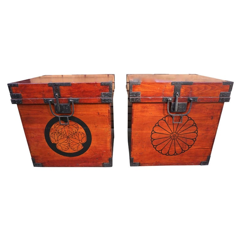 Rare Pair of Japanese Armor Carrying Cases with Imperial and Tokugawa Crests For Sale