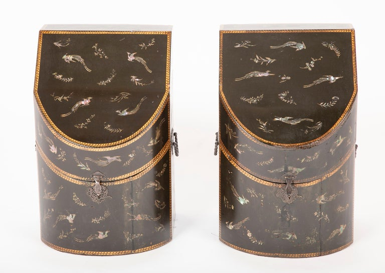 Rare pair of Japanese Nagasaki Export lacquered wood knife boxes with mother of pearl inlay of flowers and birds. From Sutton Place townhouse of the Heinz family.