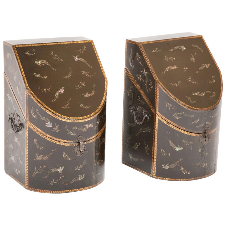Rare pair of Japanese Nagasaki Export Lacquered Wood Knife Boxes For Sale