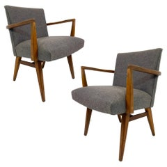 Rare Pair of Jens Risom Upholstered and Walnut Armchairs Model #205