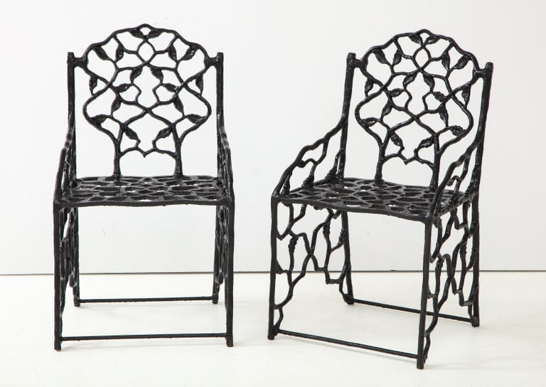 Rare Pair of JW Fiske Cast Iron Garden Chairs 5