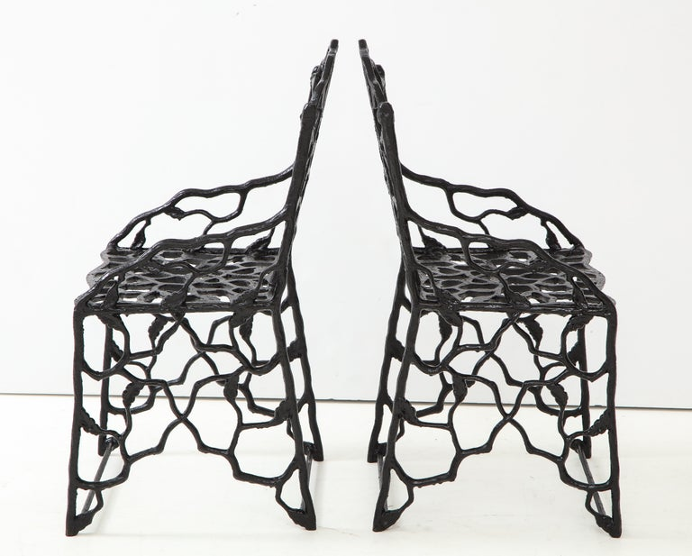 Rare Pair of JW Fiske Cast Iron Garden Chairs In Good Condition In Mt. Kisco, NY