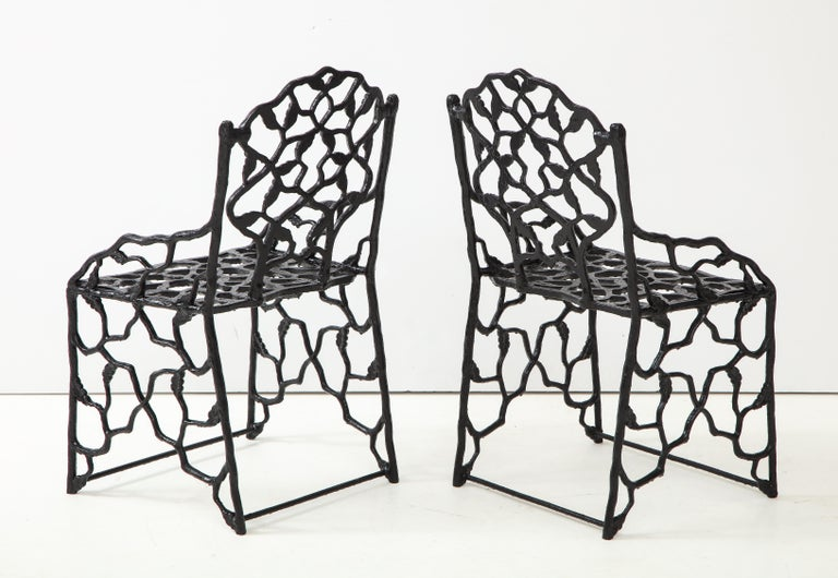 19th Century Rare Pair of JW Fiske Cast Iron Garden Chairs