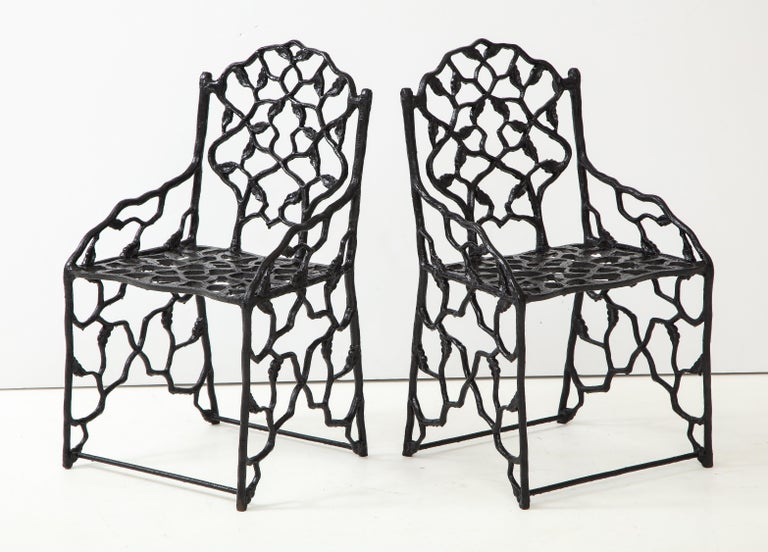 Rare Pair of JW Fiske Cast Iron Garden Chairs 3