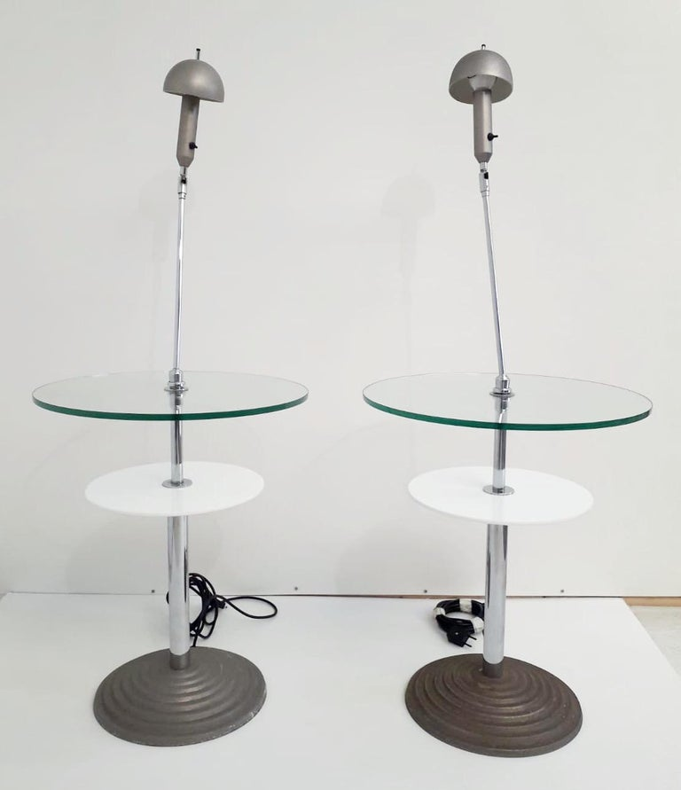 Original pair of Model 2755 vintage lamp tables with adjustable stems, clear and opaline glass tops, designed by Daniela Puppa and Franco Raggi for Fontana Arte, made in Italy in 1988