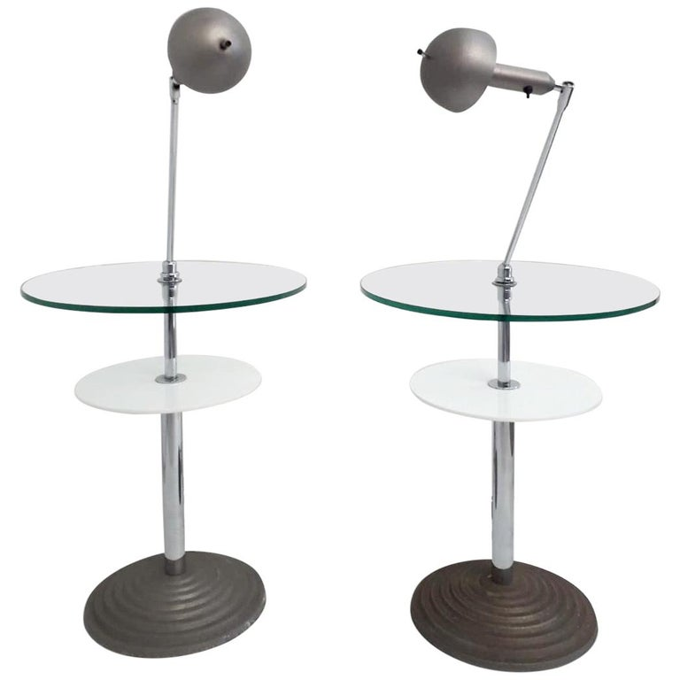 Rare Pair of Lamp Tables by Fontana Arte For Sale