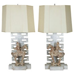Rare Pair of Lamps by James Mont with Chinese Warrior Figures