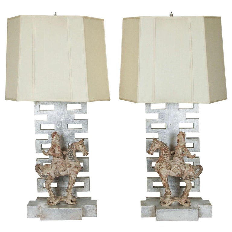 Rare Pair of Lamps by James Mont with Chinese Warrior Figures For Sale
