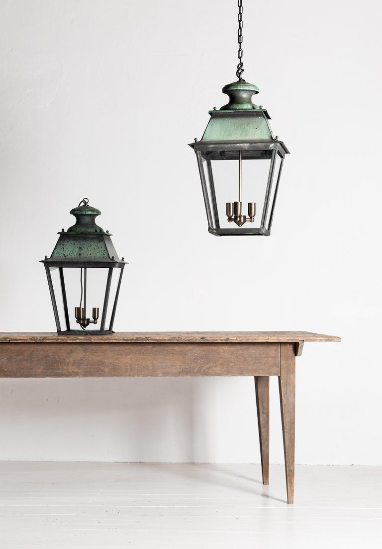 Beautiful pair of large French 19th century Verdigris copper lanterns, restored and rewired.