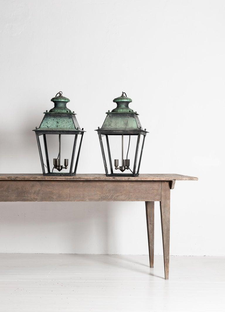 Napoleon III Rare Pair of Large French 19th Century Verdigris Copper Lanterns For Sale