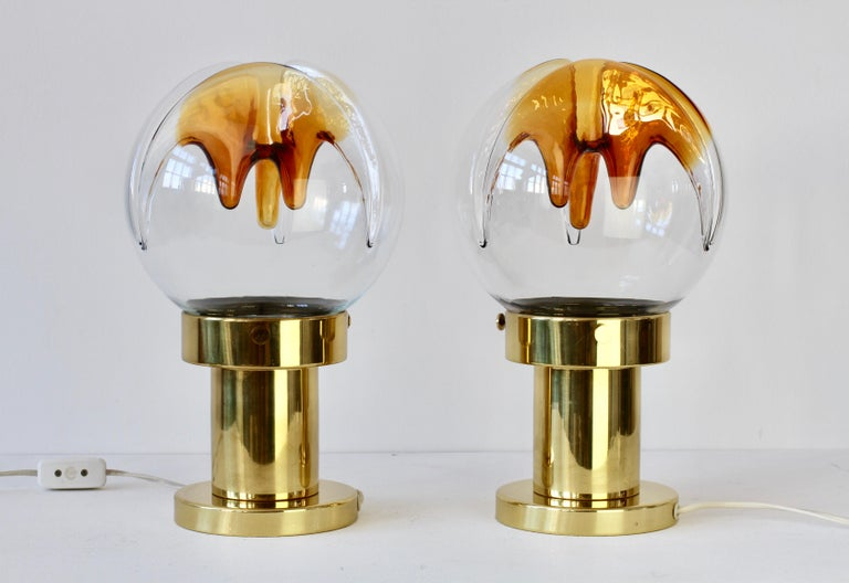 Rare Pair of Large Italian Textured Murano Glass Table Lamps by Kaiser Leuchten For Sale 3