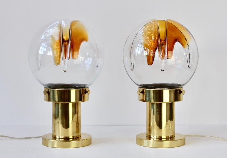 Rare Pair of Large Italian Textured Murano Glass Table Lamps by Kaiser Leuchten For Sale 5