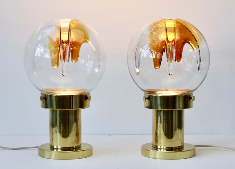 Rare Pair of Large Italian Textured Murano Glass Table Lamps by Kaiser Leuchten For Sale 6