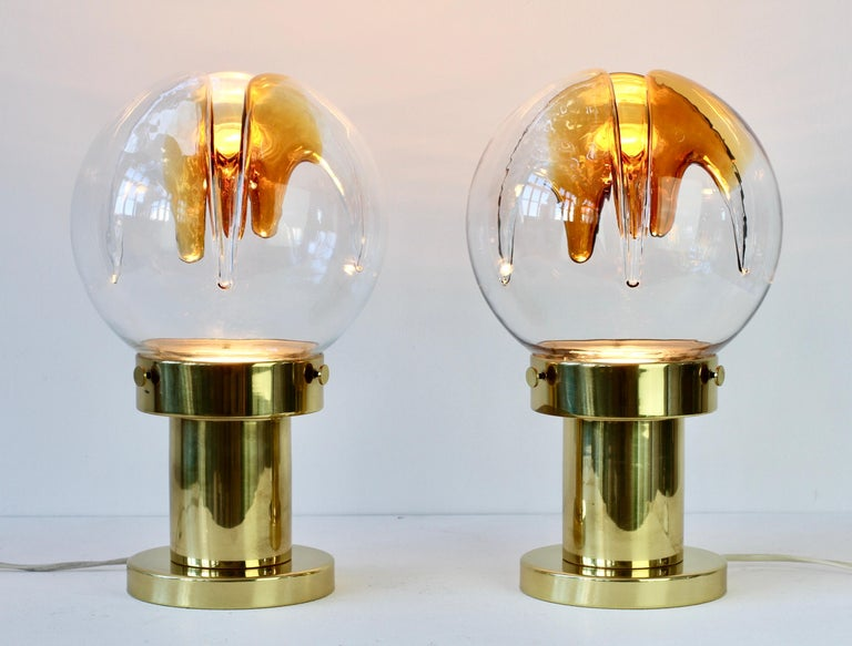 Rare Pair of Large Italian Textured Murano Glass Table Lamps by Kaiser Leuchten For Sale 7
