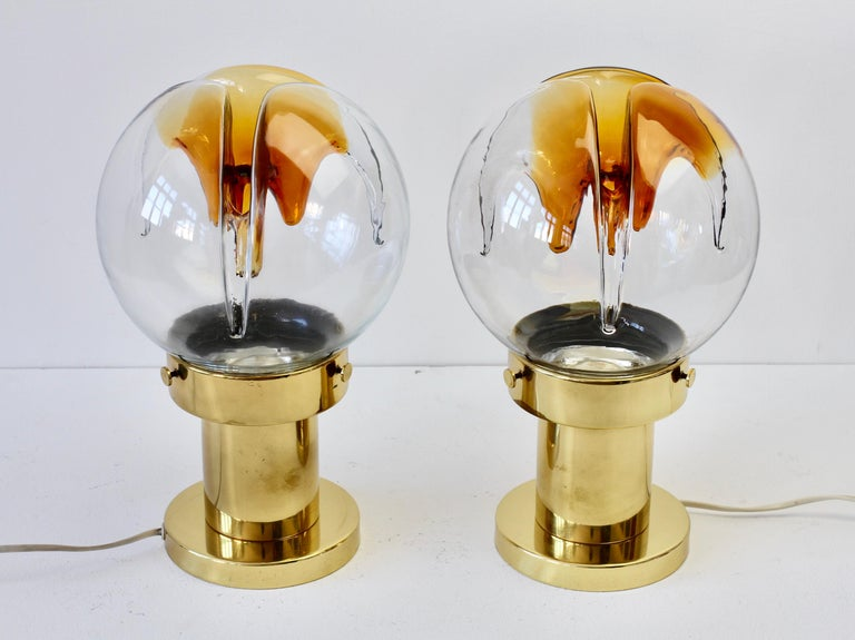 Rare Pair of Large Italian Textured Murano Glass Table Lamps by Kaiser Leuchten For Sale 8