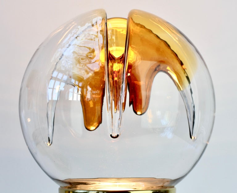 Rare Pair of Large Italian Textured Murano Glass Table Lamps by Kaiser Leuchten For Sale 9