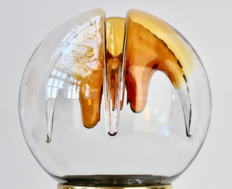 Rare Pair of Large Italian Textured Murano Glass Table Lamps by Kaiser Leuchten For Sale 10