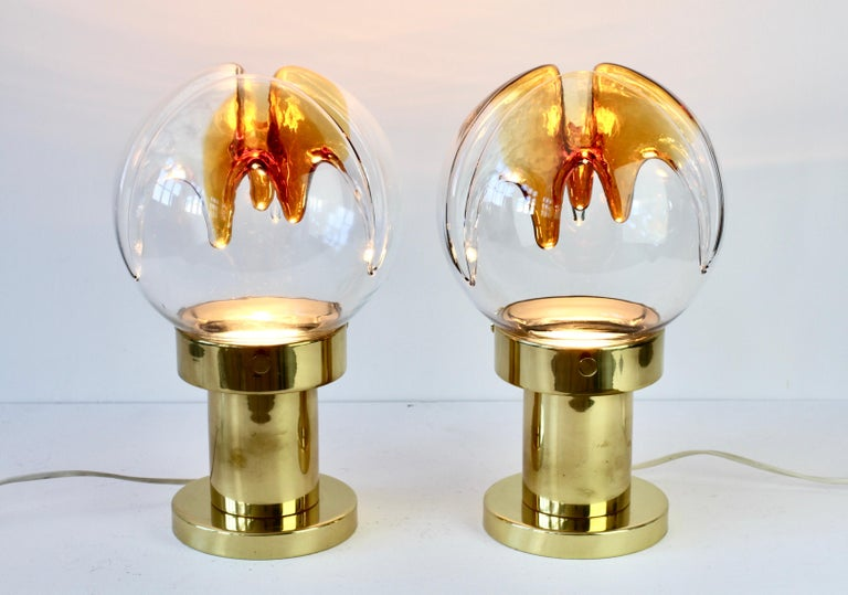 Mid-Century Modern Rare Pair of Large Italian Textured Murano Glass Table Lamps by Kaiser Leuchten For Sale