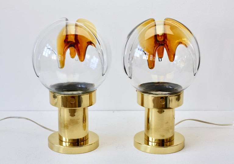 Molded Rare Pair of Large Italian Textured Murano Glass Table Lamps by Kaiser Leuchten For Sale