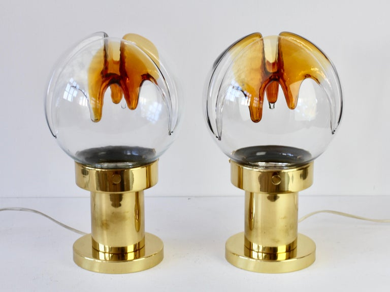 Rare Pair of Large Italian Textured Murano Glass Table Lamps by Kaiser Leuchten In Good Condition For Sale In Landau an der Isar, Bayern
