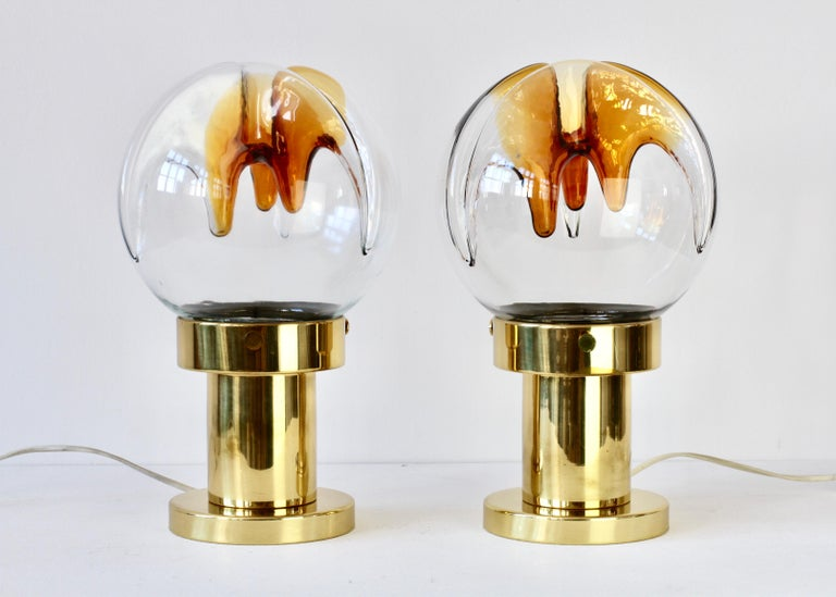 20th Century Rare Pair of Large Italian Textured Murano Glass Table Lamps by Kaiser Leuchten For Sale