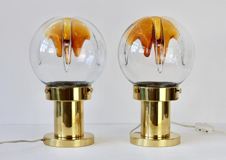 Brass Rare Pair of Large Italian Textured Murano Glass Table Lamps by Kaiser Leuchten For Sale