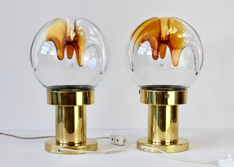 Rare Pair of Large Italian Textured Murano Glass Table Lamps by Kaiser Leuchten For Sale 1