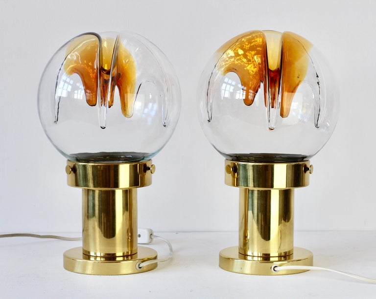 Rare Pair of Large Italian Textured Murano Glass Table Lamps by Kaiser Leuchten For Sale 2