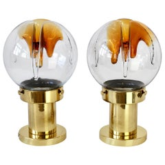 Rare Pair of Large Italian Textured Murano Glass Table Lamps by Kaiser Leuchten