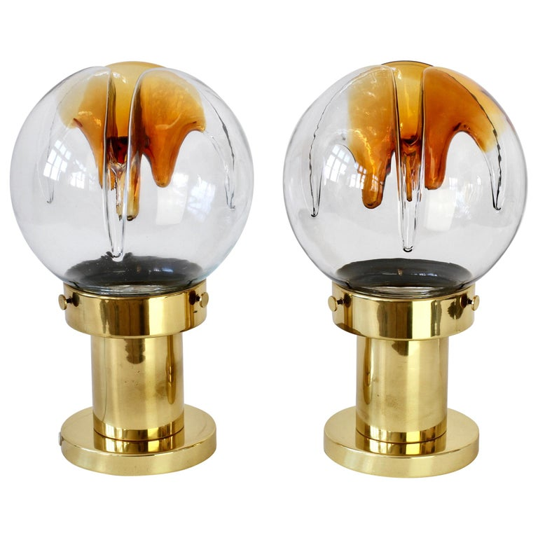 Rare Pair of Large Italian Textured Murano Glass Table Lamps by Kaiser Leuchten For Sale