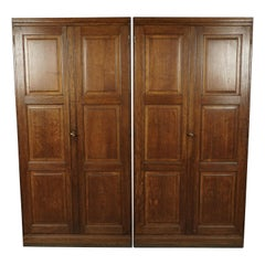 Rare Pair of Large Oak Wardrobe Cabinets from Denmark, circa 1950