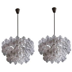 Rare Pair of Large Orrefors Chandeliers Model Festival by Gert Nyström, 1950s