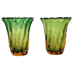 Seltenes Paar Großer Grüner Murano Vasen, Einzigartiges Buntes Meisterstück