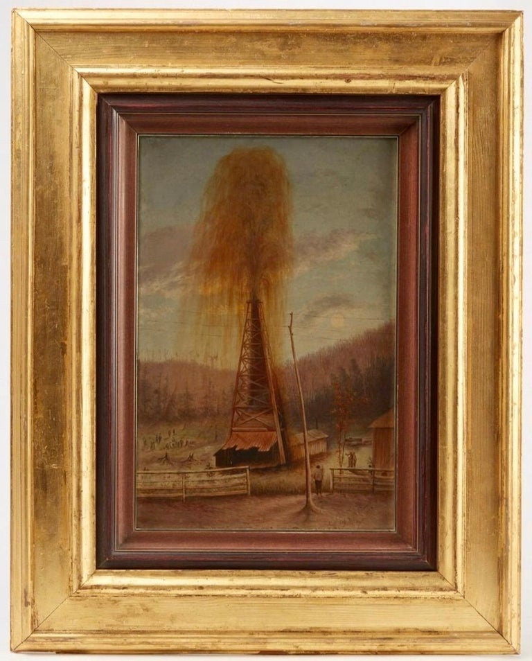 Folk Art Rare Pair of Late 19th Century Oil Well Derrick Signed Paintings For Sale