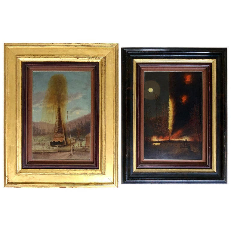 Rare Pair of Late 19th Century Oil Well Derrick Signed Paintings For Sale