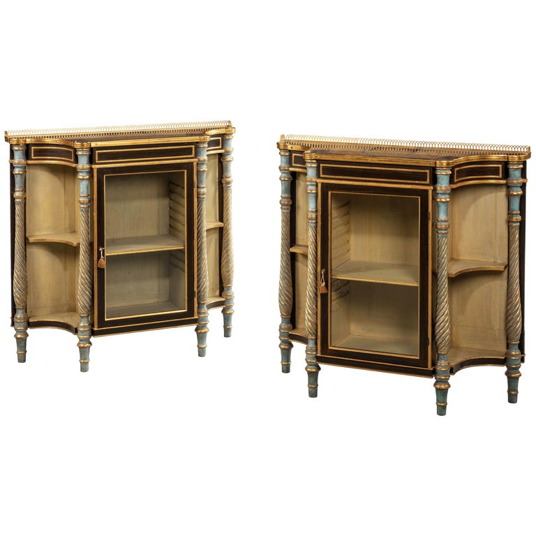 Rare Pair of Late Regency Mahogany Side Cabinets For Sale