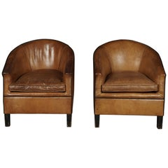 Rare Pair of Leather Club Chairs from Holland, circa 1970
