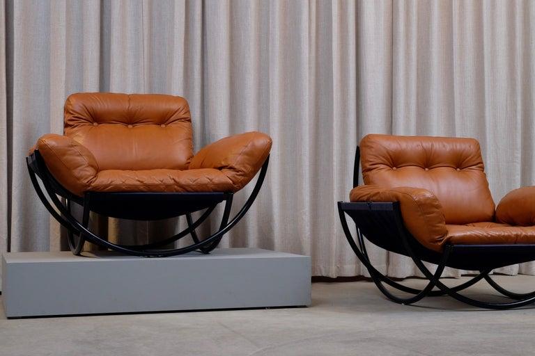 Scandinavian Modern Rare Pair of Lennart Bender Easy Chairs, 1960s For Sale