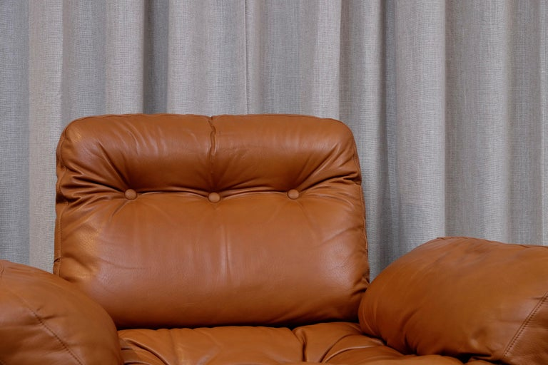 Leather Rare Pair of Lennart Bender Easy Chairs, 1960s For Sale