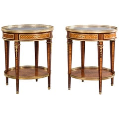 Rare Pair of Louis XVI Style Gilt-Bronze Mounted Parquetry Gueridons, circa 1880