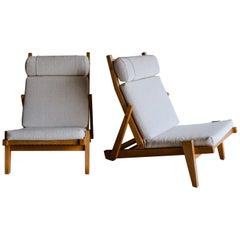 Rare Pair of Lounge Chairs by Hans Wegner, Denmark, 1960s