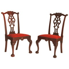 Rare Pair of Mahogany Chippendale Carved Side Chair
