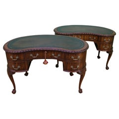 Rare Pair of Mahogany Kidney Shaped Writing Desks by Waring and Gillow