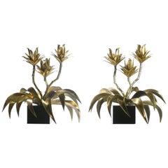 Rare Pair of Maison Jansen Brass Flower Lamps, 1970s