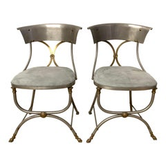 Rare Pair of Maison Jansen Steel and Brass Bronze Directoire Dining Side Chairs