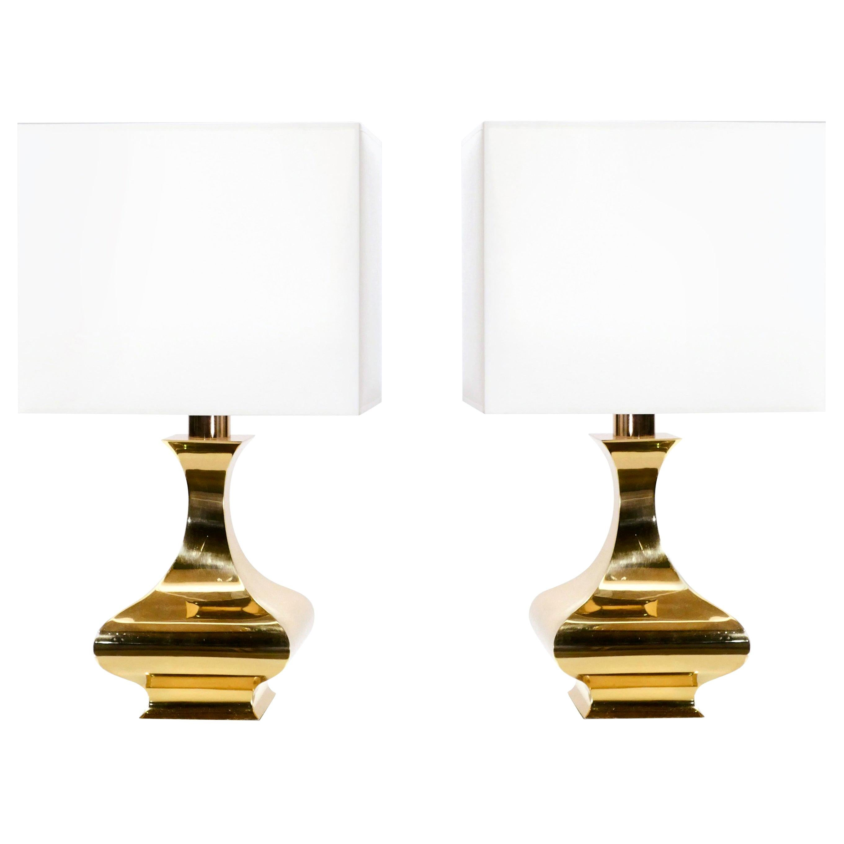 Rare Pair of Maria Pergay Brass Table Lamps, 1970s