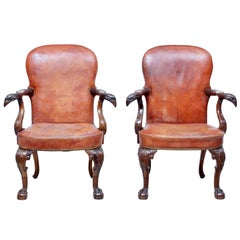 Rare Pair of Mid-20th Century Carved Mahogany Armchairs