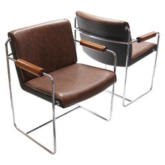 Rare Pair of Mid-Century Modern Fiberglass and Brown Leather Shell Lounge Chairs